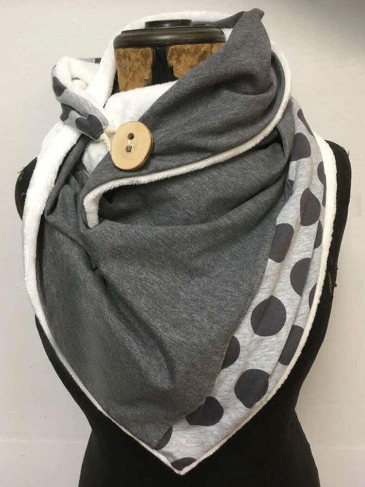 女性無地ドットオールマッチ厚手の暖かさショールプリントスカーフ