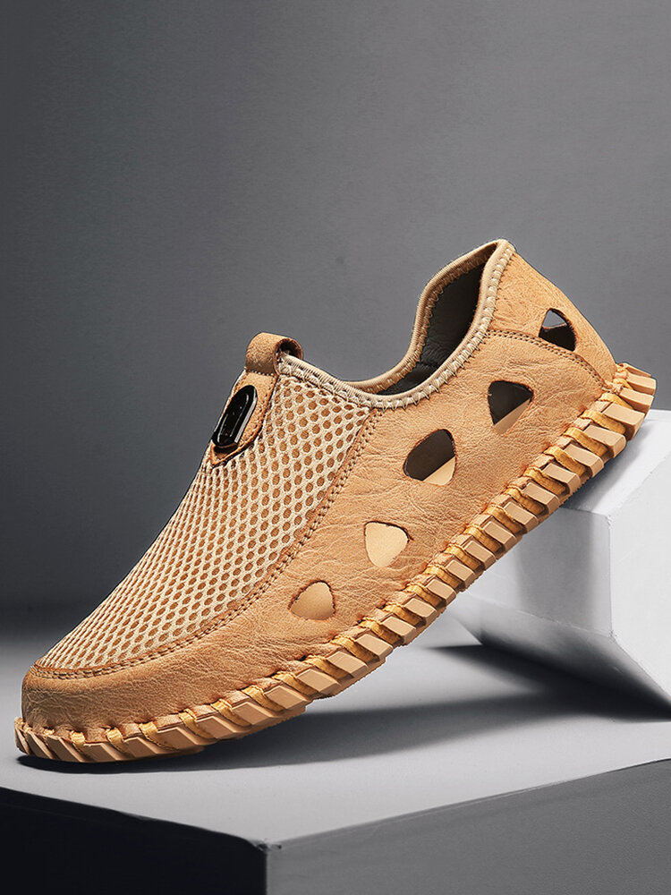 Men Hand Stitching Breathable Mesh Leather Slip-on Hole Sandals