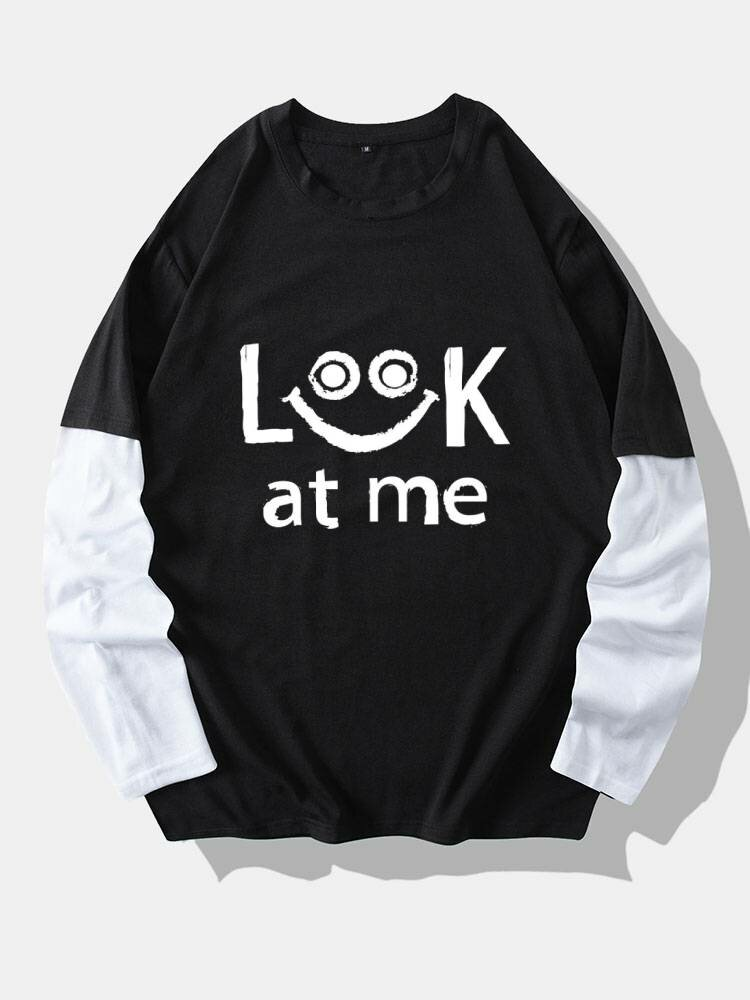Mens Smile Slogan Print 2 In 1 Stitching Cotton Long Sleeve T-Shirts