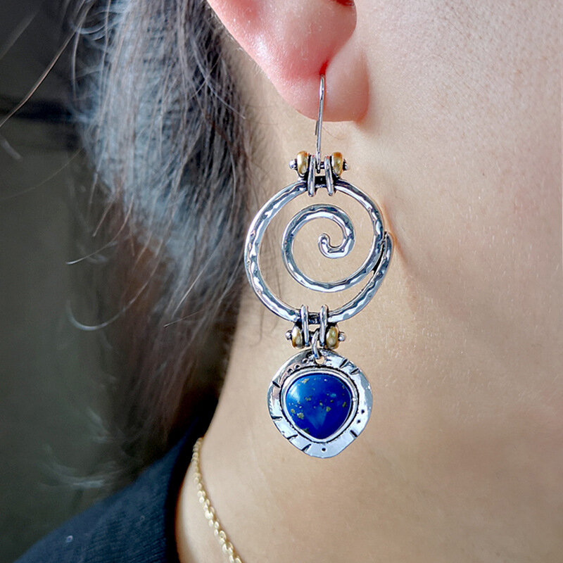 Vintage Silver Plated Geometric Earrings Whirlpool-Shape Lapis Pendant Earrings