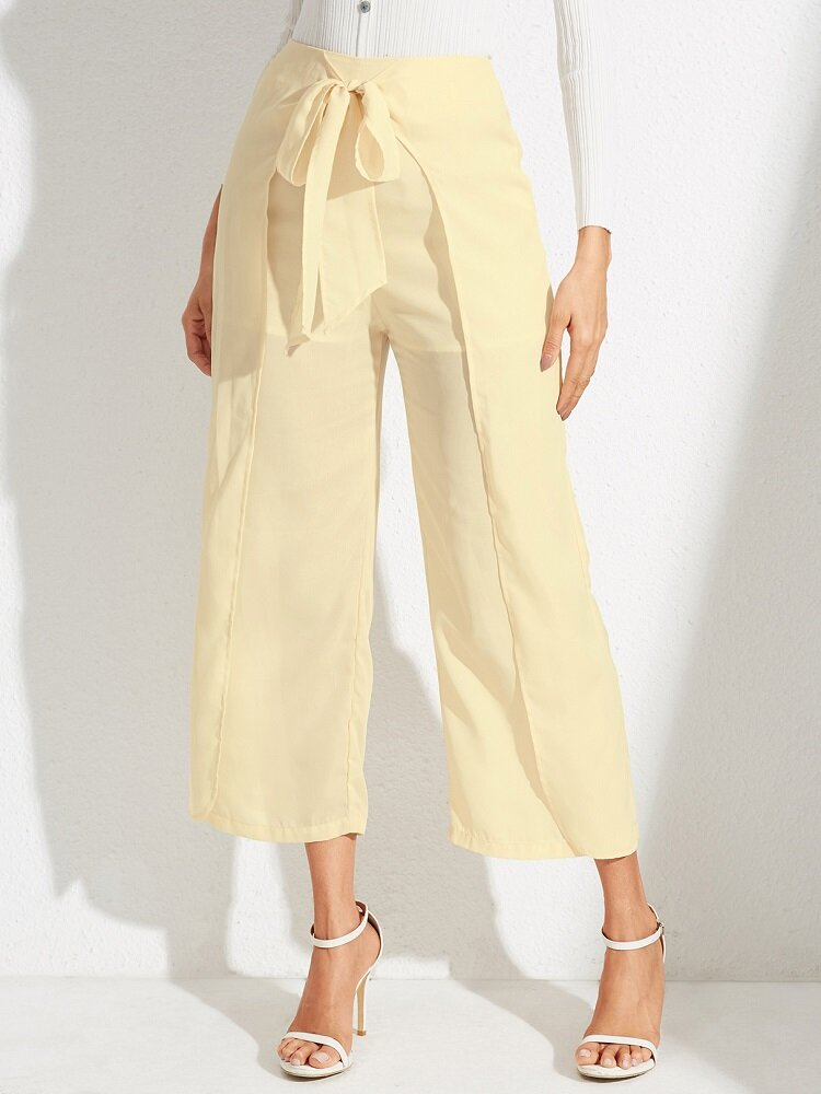 Solid Color Bowknot Knotted High Waist Loose Casual Pants
