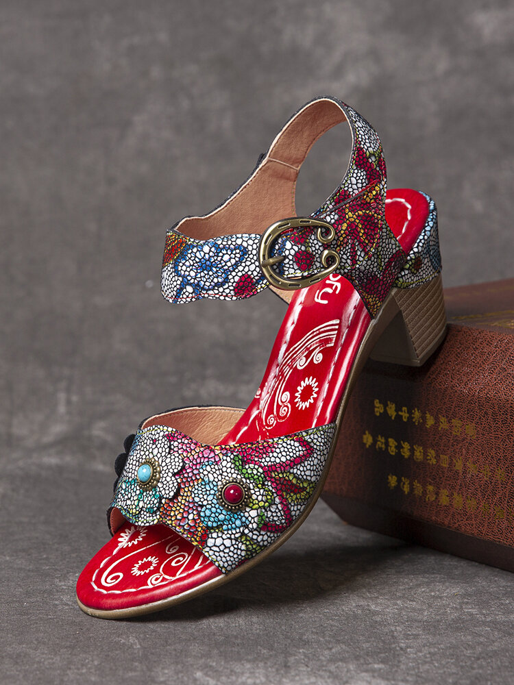 SOCOFY Retro Bubble Floral Printed Genuine Leather Comfy Wearable Hook Loop Casual Chunky Heels Sandals