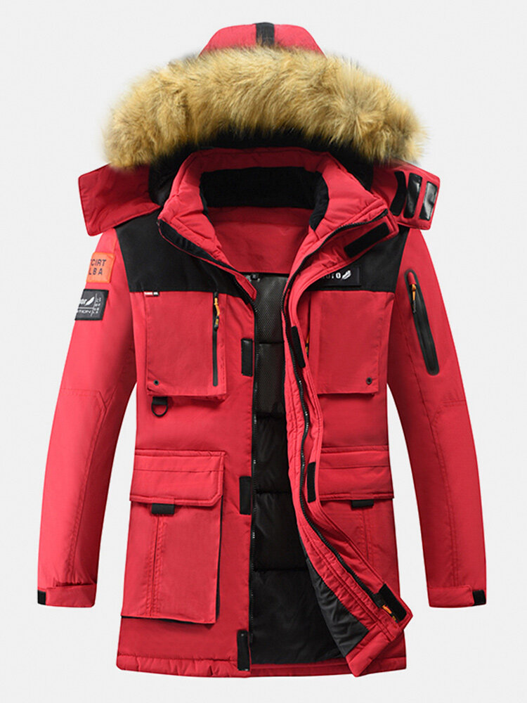 Mens Winter Thicken Multi-Pocket Zipper Fur Hooded Warm Down Coat