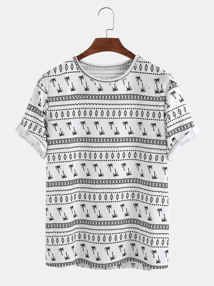 Mens Funny Geo Pattern Printed Round Neck Short Sleeve T-Shirts