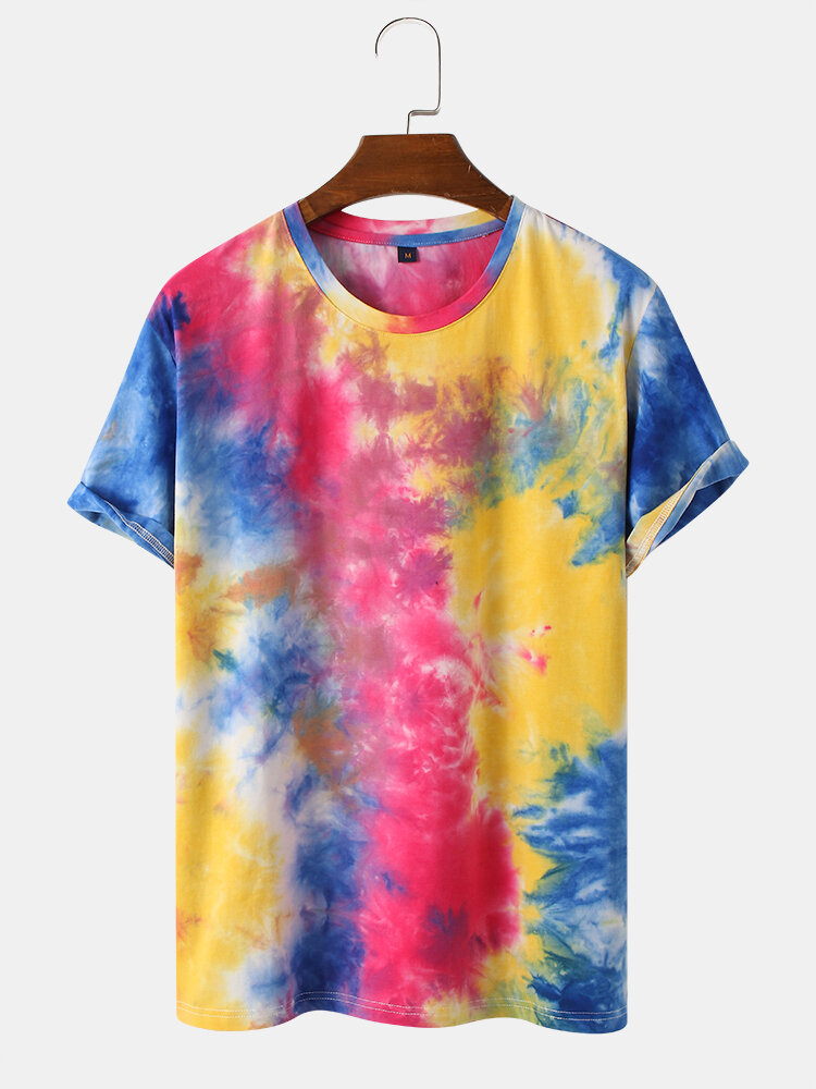 Mens Colorful Cotton Tie Dye Short Sleeve Breathable T-Shirt