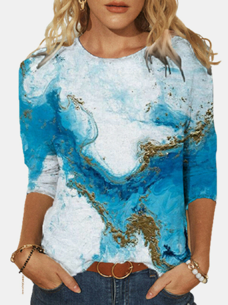 Casual Print O-neck Long Sleeve Plus Size T-shirt for Women