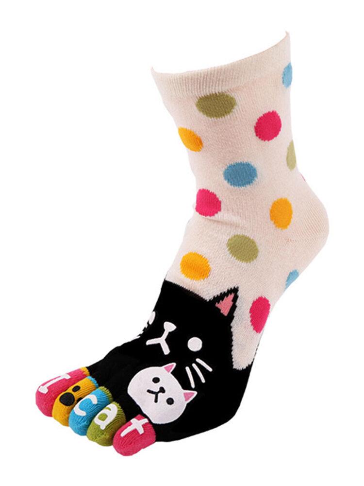 Womens Thick Cotton Long Tube Cartoon Cat Toes Socks Young Stylish Breathable Tube Sports Socks