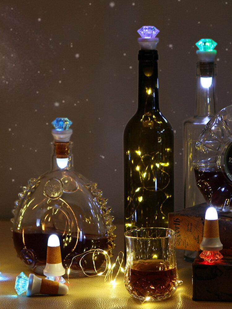 Led String Light Bar Rechargeable Luminous Bottle Cover Diamond-shaped Cork Atmosphere  Night Light
