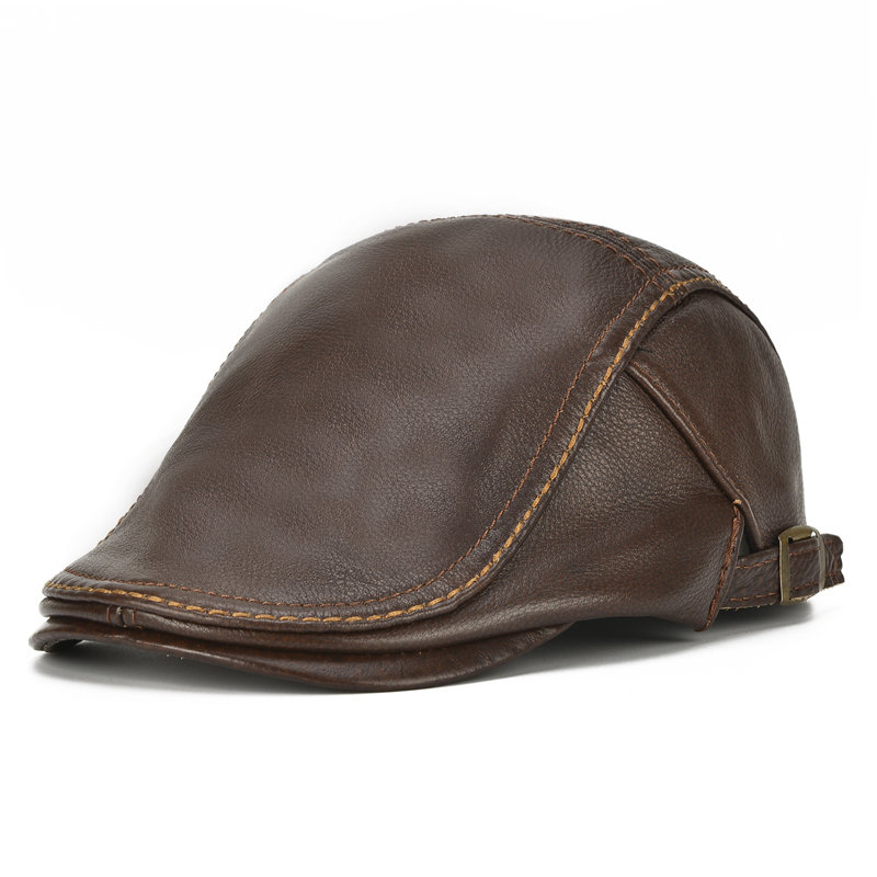 Mens Solid Genuine Cowhide Flat Caps Beret Hat Casual Windproof Warm Forward Caps Adjustable
