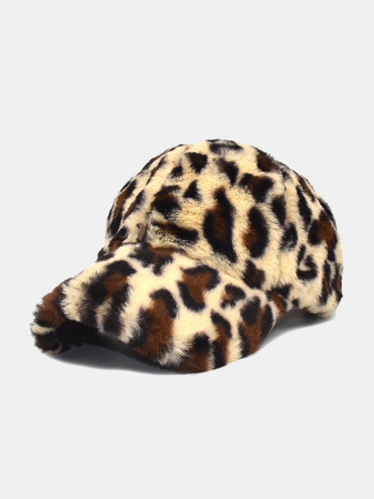 Women Plush Leopard Pattern Warm Fashion Personality Sunvisor Baseball Hat