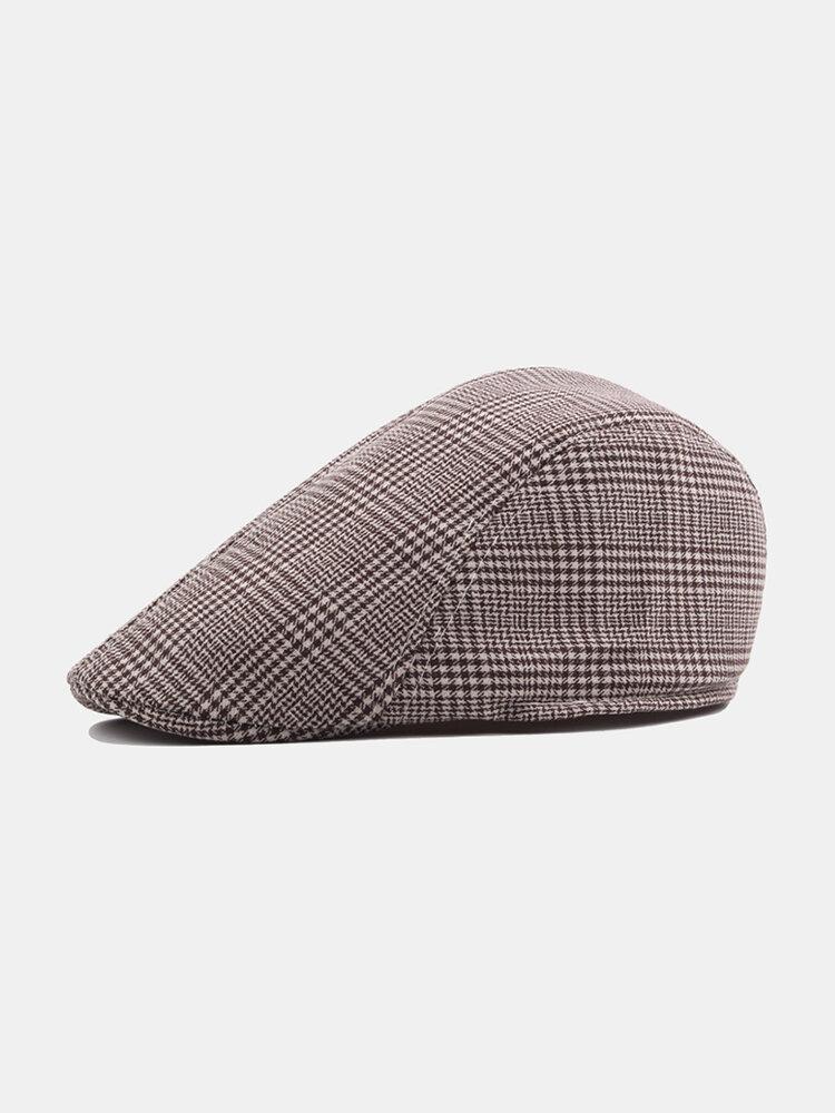 Mens Vintage Adjustable Lattice Cotton Beret Peaked Cap Casual Breathable Cowboy Beret Hats