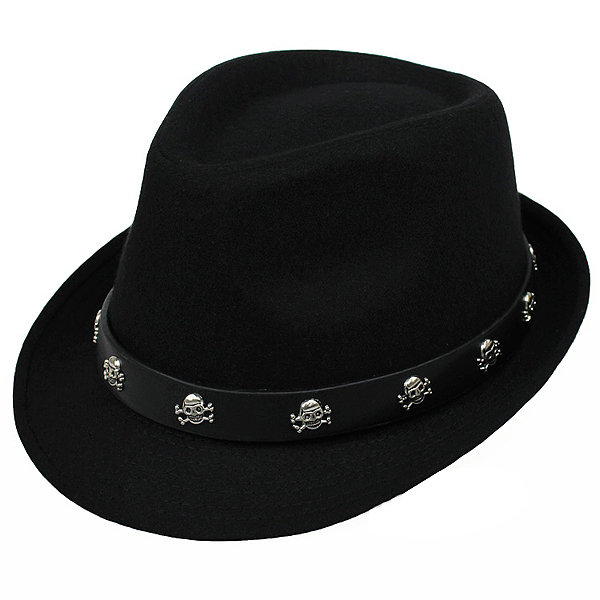 Retro British Mens Hat Skull Crossbones Woolen Fedoras Jazz Cap