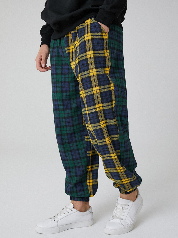 Mens Contrast Plaid Patchwork 100% Cotton Drawstring Jogger Pants With Pocket