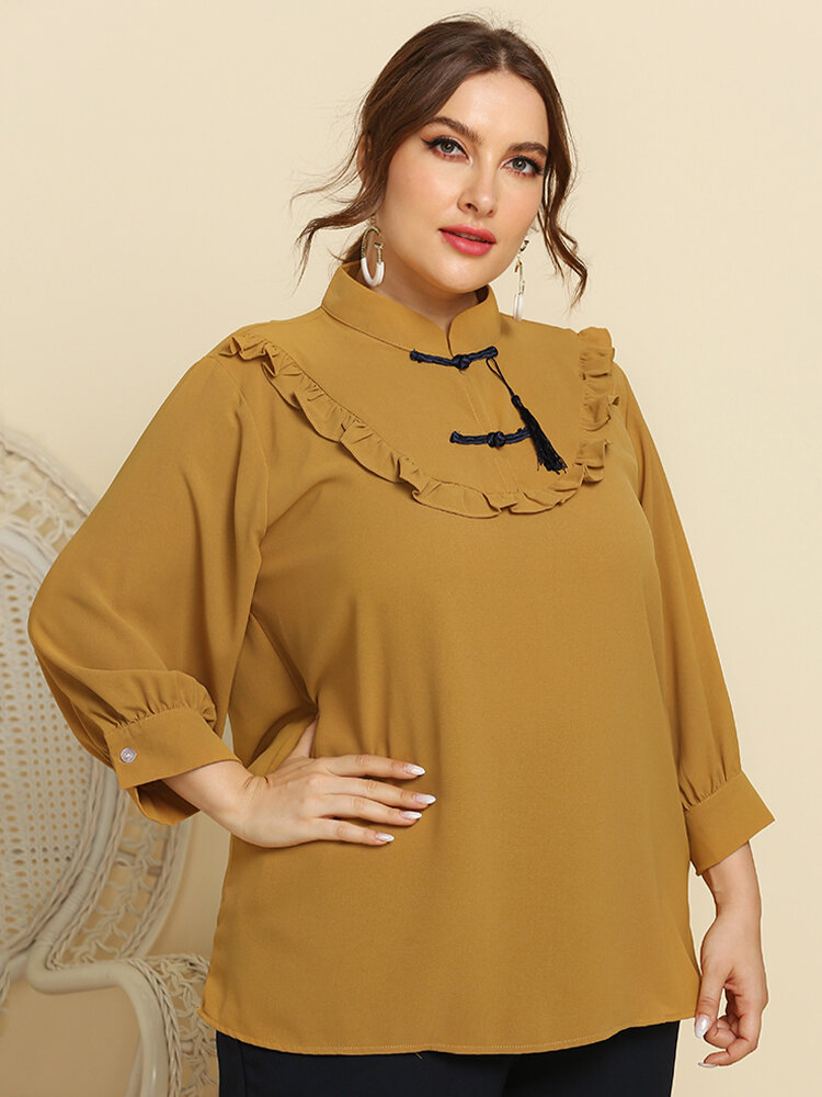 Solid Color Stand Collar Lantern Sleeve Plus Size Ruffle Blouse for Women