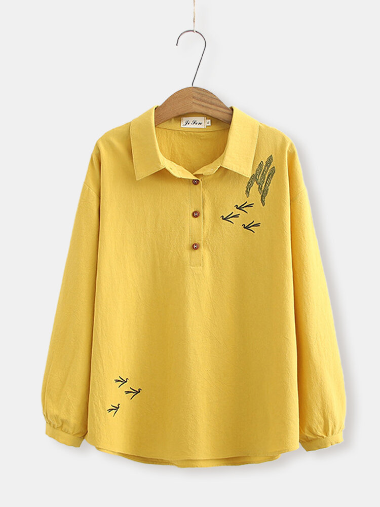 Embroidery Long Sleeve Turn Down Collar Shirt For Women