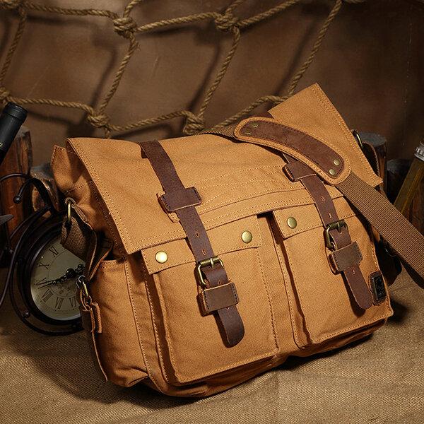 QISEMIAN Cowhide Canvas Messenger Bags Vintage Shoulder Crossbody Bags