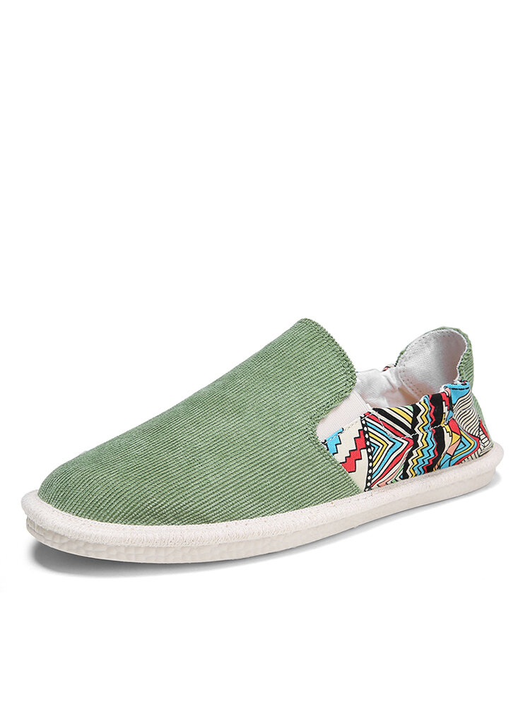Men Brief Printing Pattern Comfy Slip-on Lazy Breathable Fisherman's Shoes