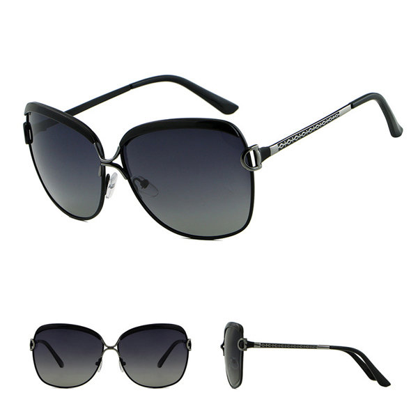 Women Vintage UV Protection Polarized Glasses Large Frame Alloy Sunglasses
