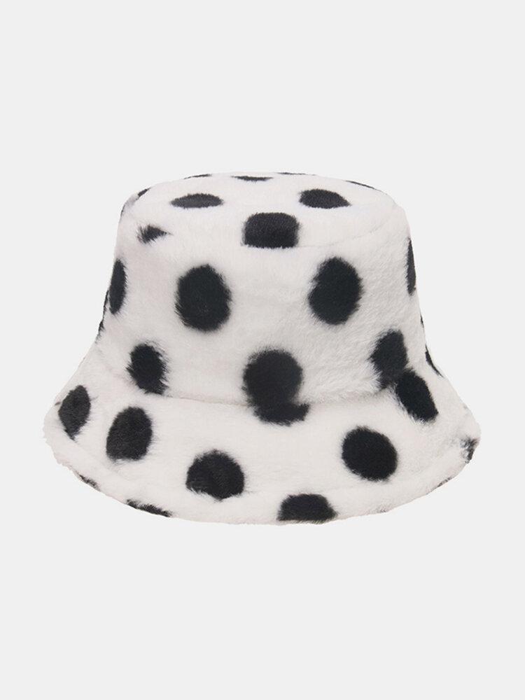 Women & Men Rabbit Fur Colorful Dots Pattern Plus Thicken Warm Windproof Soft All-match Travel Bucket Hat