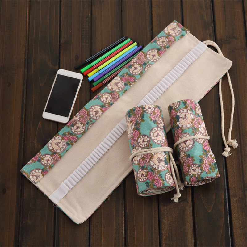 36/48/72 Rose Clock Canvas Roll Up Pencil Bag Pen Case Holder Storage Pouch