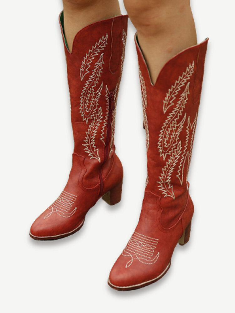 Plus Size Women Retro Red Pointed Toe Embroidered Chunky Heel Zipper Cowboy Boots