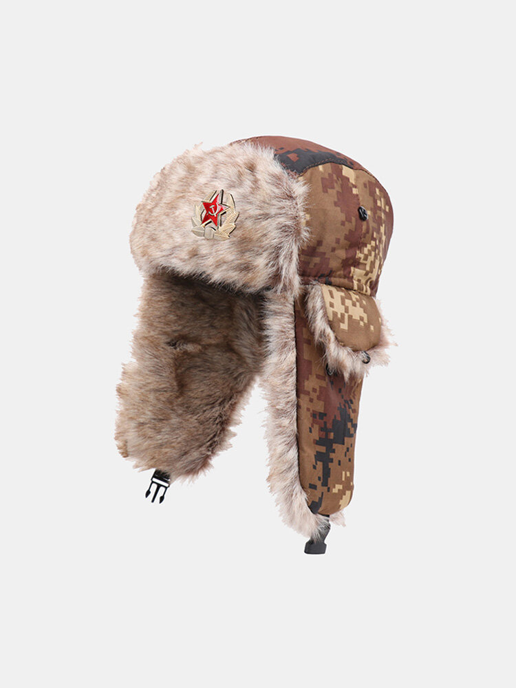 Men Artificial Fur Dacron Camouflage Soviet Badge Thicken Warmth Ear Protection Cold-proof Trapper Hat
