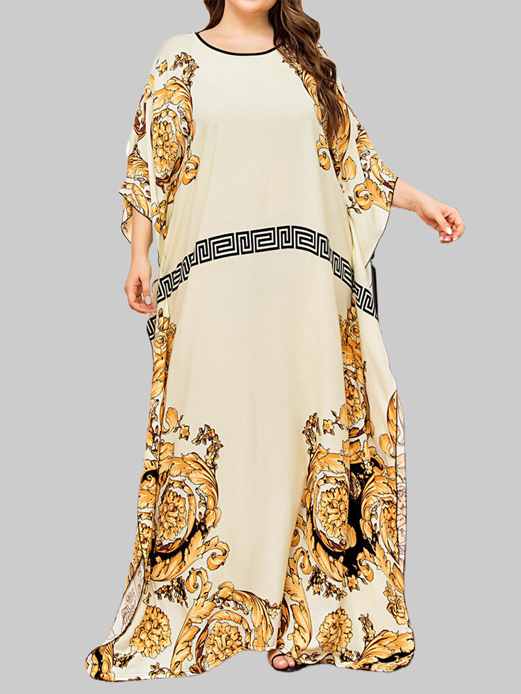 Floral Print 3/4 Sleeve O-neck Loose Maxi Dress For Women