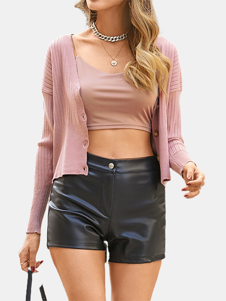 Solid Color Button V-neck Long Sleeve Casual Cardigan For Women