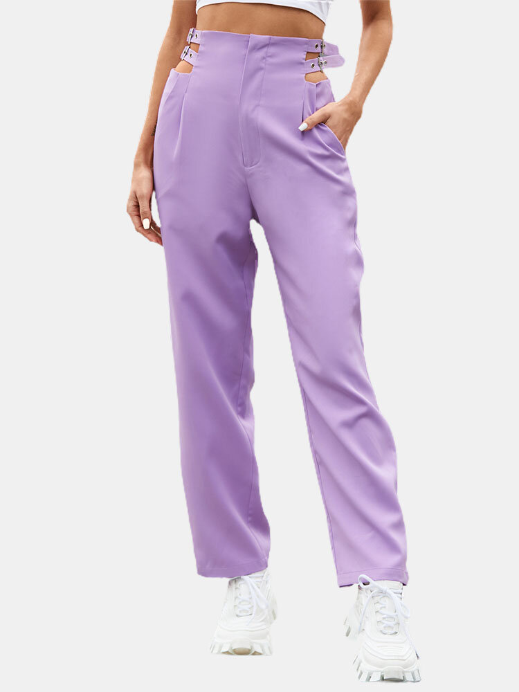 Solid Color Buckle Pocket High Waist Casual Pants For Women