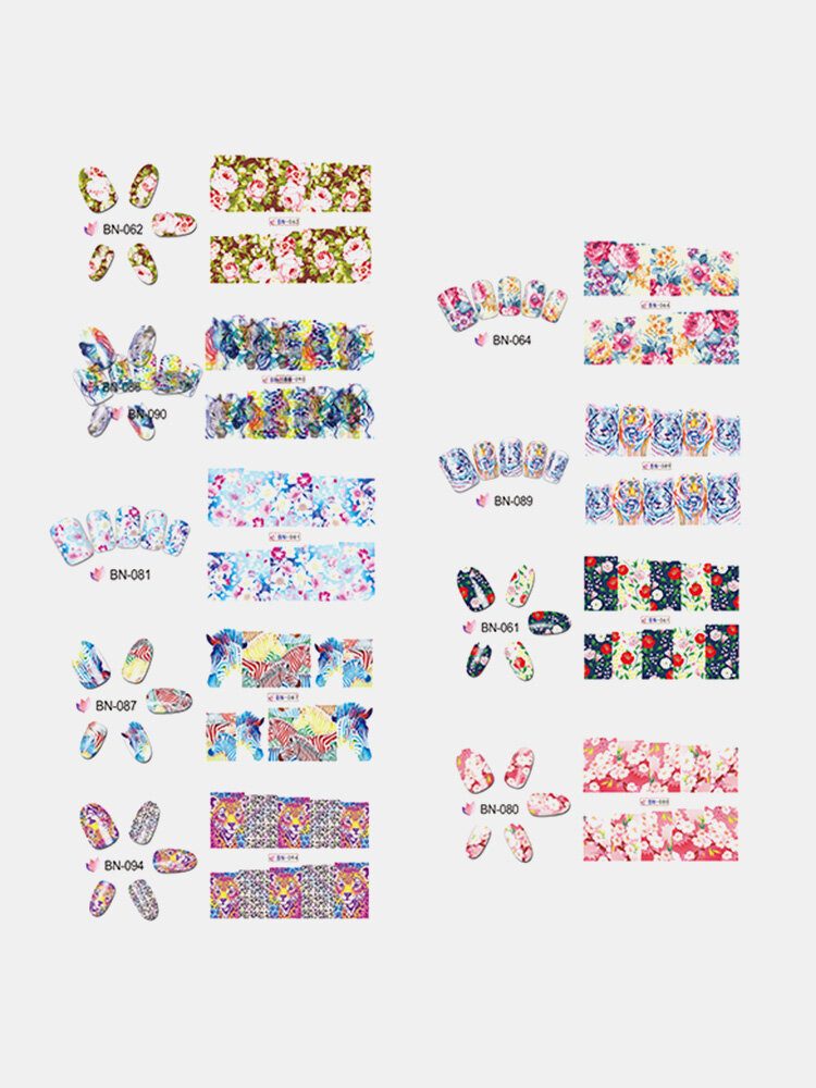 1 Sheet Flower Stickers Nail Art Tiger Leopard Water Transfers Decals Wraps Nails