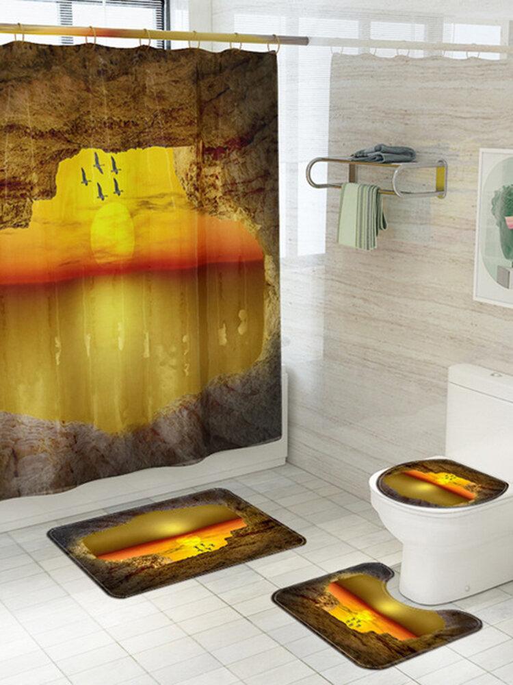 Romantic Scenery Printed toilet Four-Piece Big Ocean Bathroom Mat 4-Piece Set