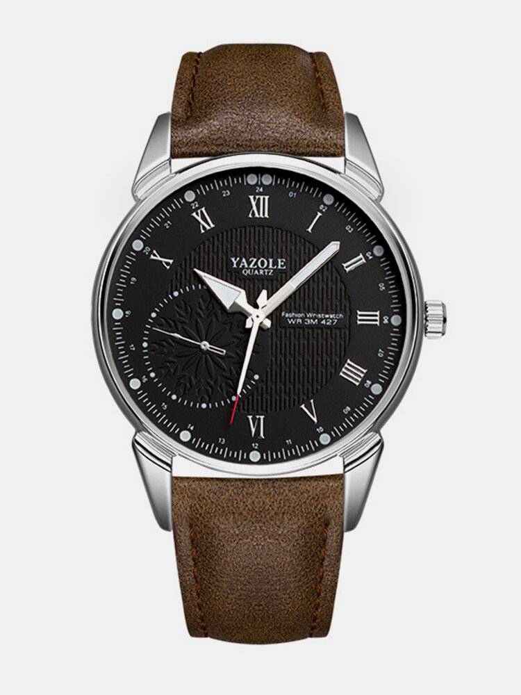 Trendy Luminous Waterproof Quartz Watch Leather Stainless Steel Men Waist Watch