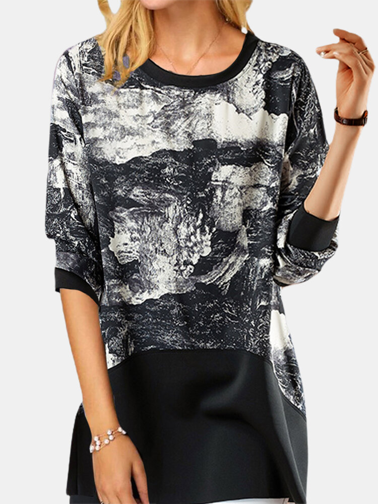 Patched Wave Print Long Sleeve Casual T-Shirt For Women