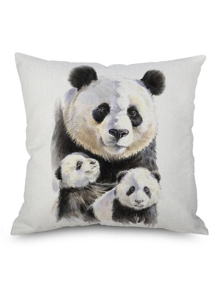 Watercolor Panda Printing Linen Cotton Cushion Cover Home Sofa Car Cushion Cover Pillowcases