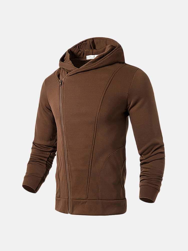 Mens Zip Up Hooded Tops Solid Color Casual Cotton Hoodies