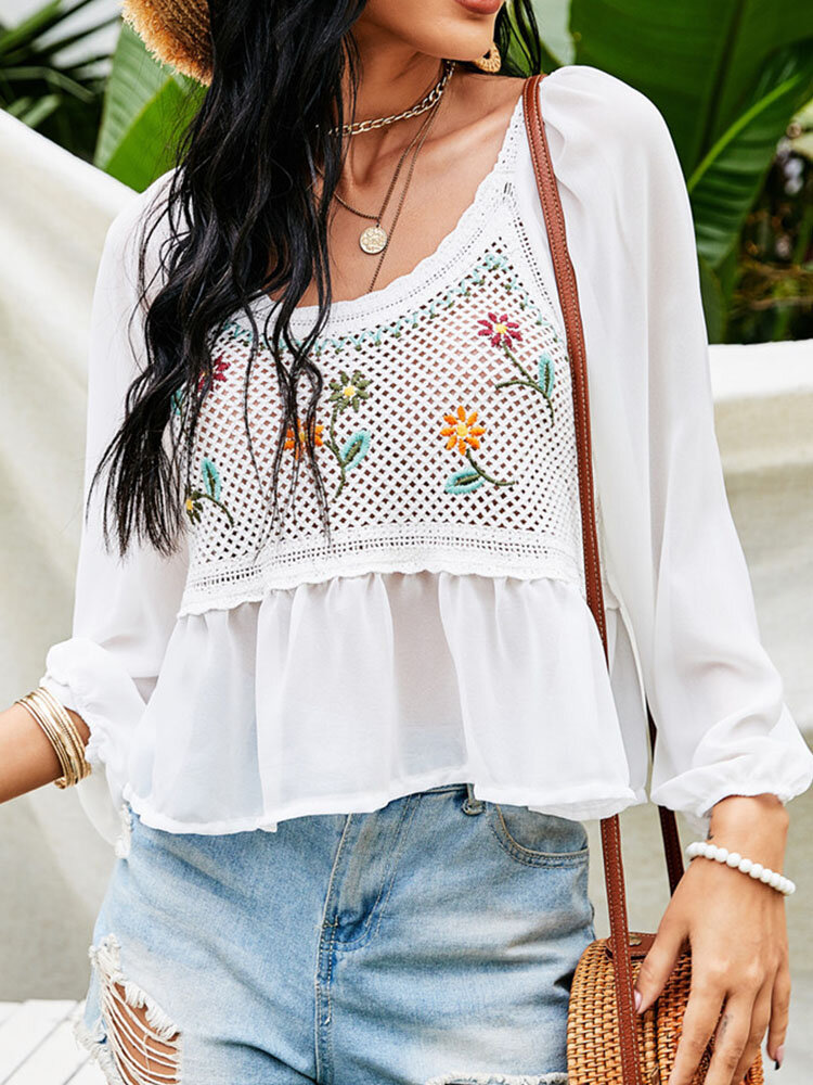 Holiday Floral Embroidery Crochet O-neck Long Sleeve Patchwork Hollow Chiffon Blouse