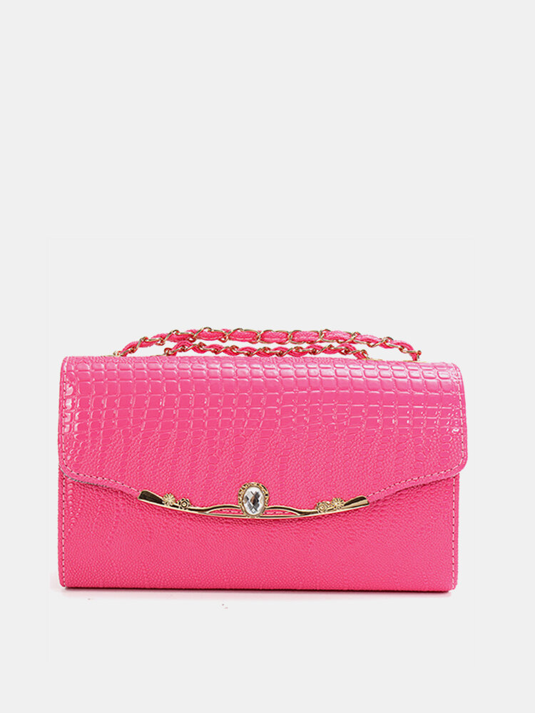 Women Diamond Crocodile Grain Stain Bag