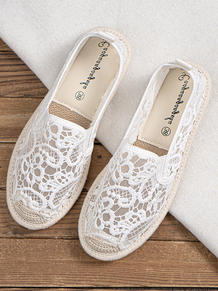 Breathable Hollow Lace Espadrilles Casual Slip On Flat Shoes For Women