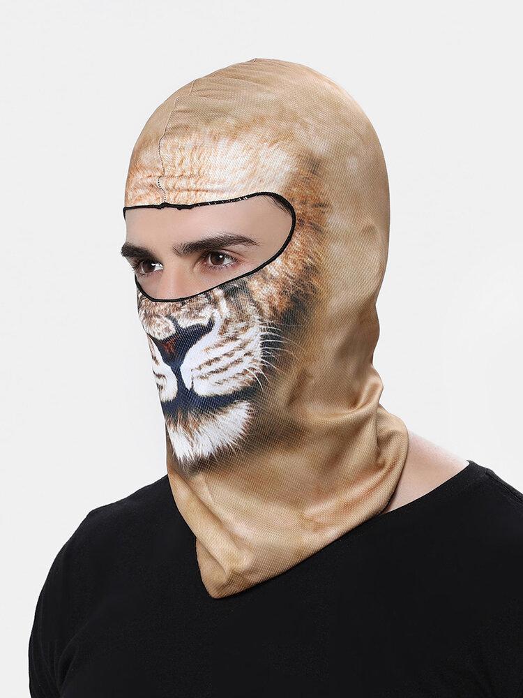 3D Animal Headdress Mask Warm Elastic Velvet Riding Ski Mask Interesting Pattern