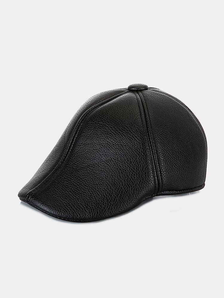 Men Faux Leather Casual Outdoor Warm Solid Color Forward Hat Beret Hat Flat Cap