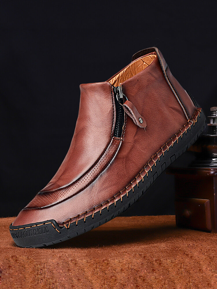 Menico Men Leather Hand Stitching Side Zipper Comfy Soft Ankle Boots