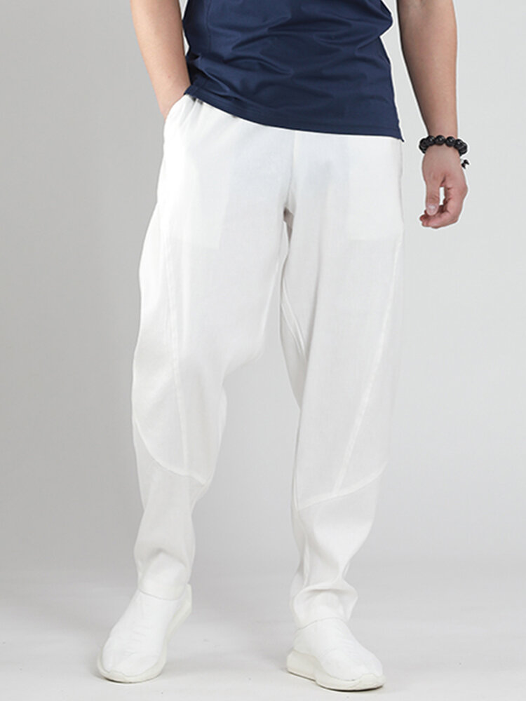 Mens Breathable Lightweight 100% Cotton Multi Pockets Casual Yoga Pants