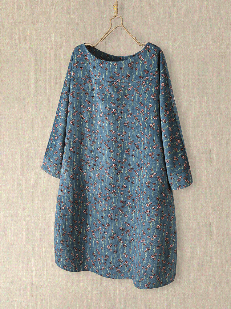 Floral Print O-neck Mid-length Long Sleeve Casual Dress for Women