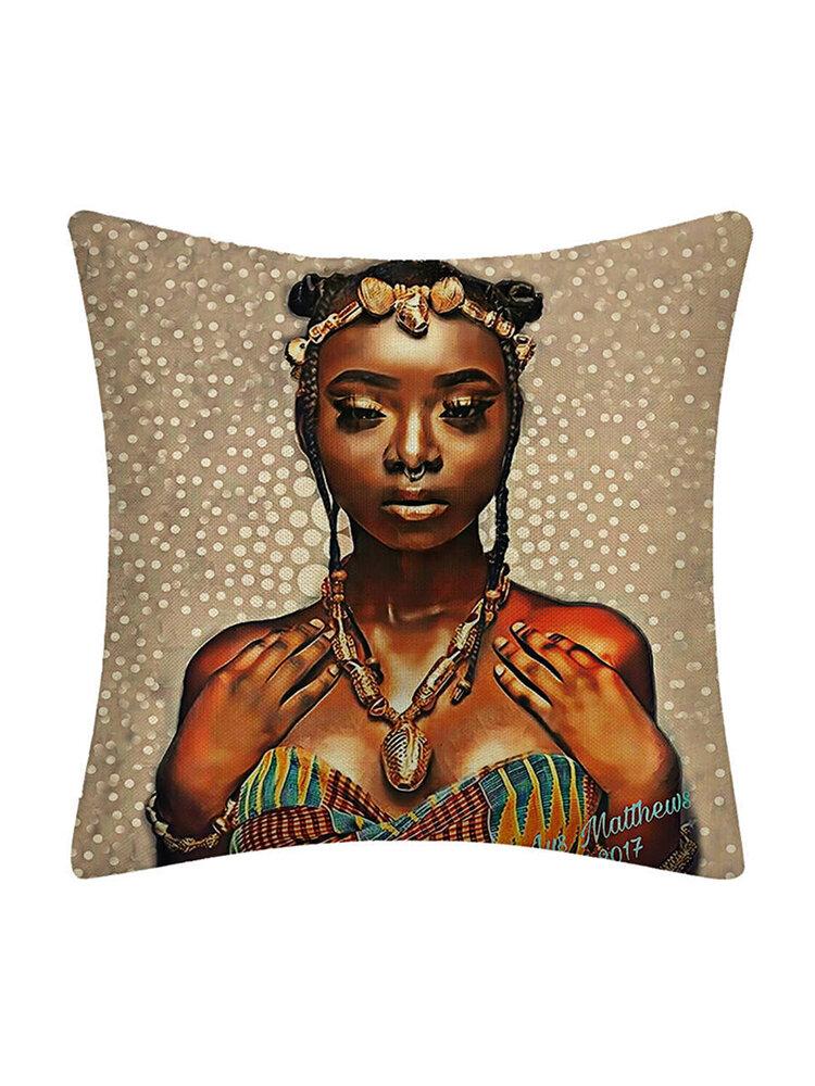 Travesseiro Beauty Woman Caso Travesseiro de linho Capa de almofada para casa Suprimentos para carro