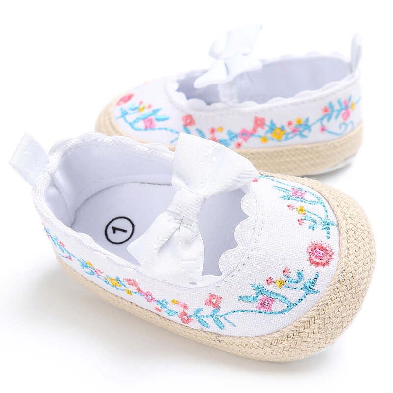 Flower Embroidery Baby Girls Flats Shoes For 0-24M