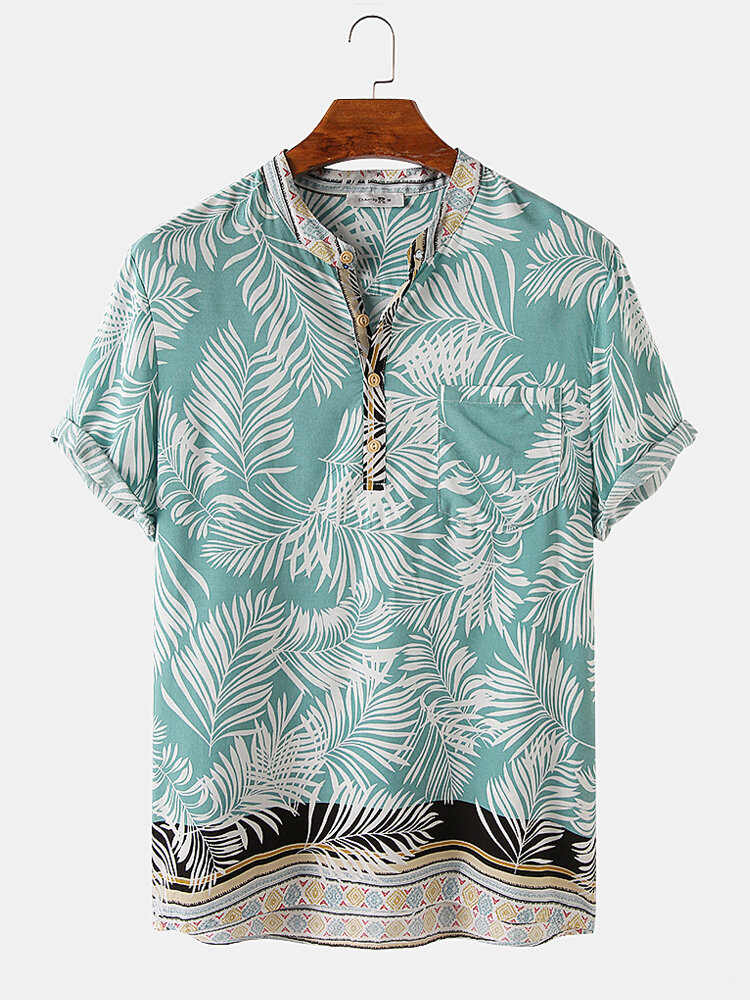 Mens Tropical Leaf Floral Print Short Sleeve Holiday Henley Shirts