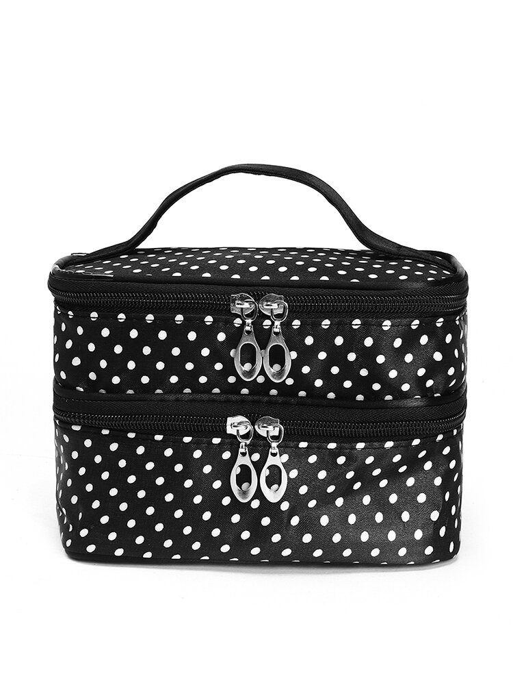 Large Capacity Double Layers Cosmetic Bag Cute Portable Travel Bag