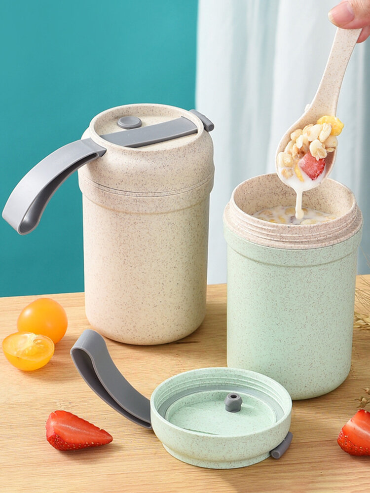 Wheat Straw Portable Breakfast Cup Sealed Insulated Breakfast Porridge Milk Edible Cup Spoon