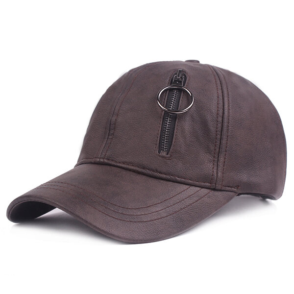 Mens Solid PU Leather Baseball Hat With Zipper Casual Sport Windproof Sunshade Caps