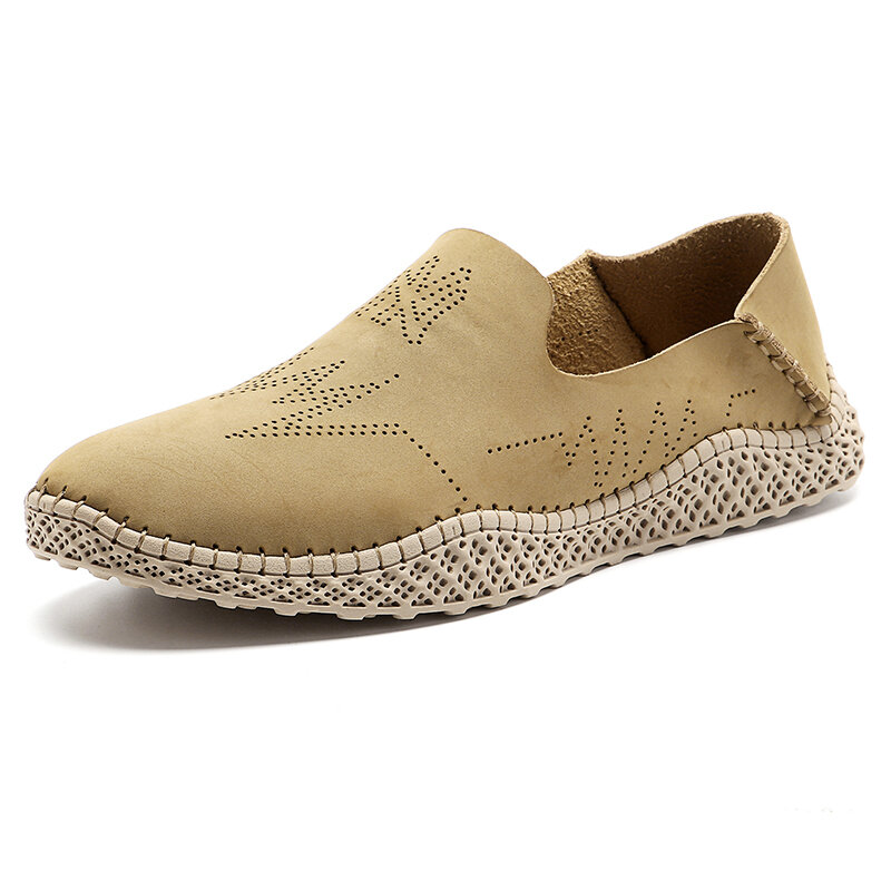 Men Carved Non Slip Hand Stitching Collapsible Heel Casual Leather Shoes